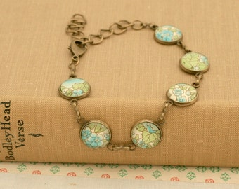 Pale Blue and Sage Green Glass Cabochon Antique Bronze Bracelet