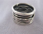 RESERVED for Gceleb85 - Vintage Grooved Ridge Thick Band Ring Size 7