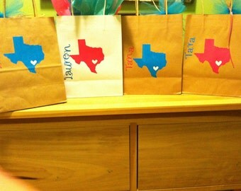 Texas state line.  Set of Custom Gift Bags for All Occasions/ Bridesmaids and Bachelorette