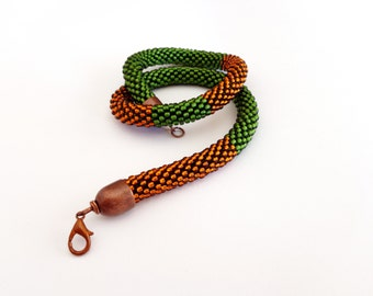 Beaded Jewelry/Amber-Green Necklace/Crocheted Choker/Beaded Rope Necklace/Statement necklace/Virtù n.12