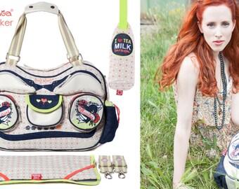 large Designer Baby nappy changing bag + bottle holder - diaper bag - Radio Ga Ga by Sweet Morning - Heartbreaker for twins/ as twin bag