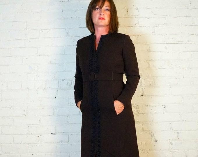 Long Sleeve Belted Sheath Dress MEDIUM 1960s Coffee Brown Wool & Black Rickrack Elegant Fall to Winter Dress Work 2 Cocktails Custom Couture