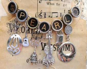 Custom MUSIC Theme Necklace Vintage Typewriter Keys Gift for Musician Sterling Antiqued Brass Mixed Metal Charms Designed for a Poet : )