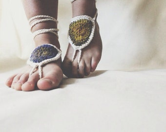 Hand Crocheted Bohemian Barefoot Sandals Cotton Ercu and Multicolor