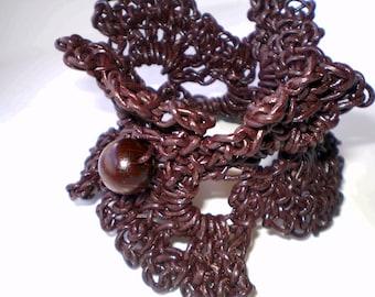 Bracelet Crocheted brown leather bracelet - Seaweed-leather handcrocheted jewelry