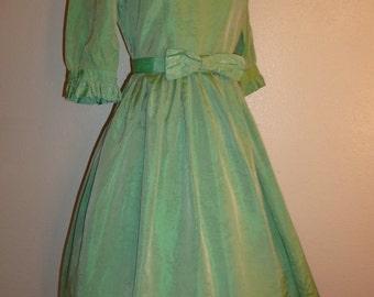 1950s Iridescent Green Party Dress