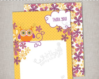 Owl Thank You Note - Printable PDF, envelope template and pattern sheets