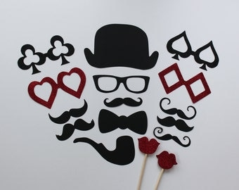 Photobooth Props - 16 Piece Set - Photo Party Props On a Stick - Wedding / Birthday Photo Booth DEUCES UP