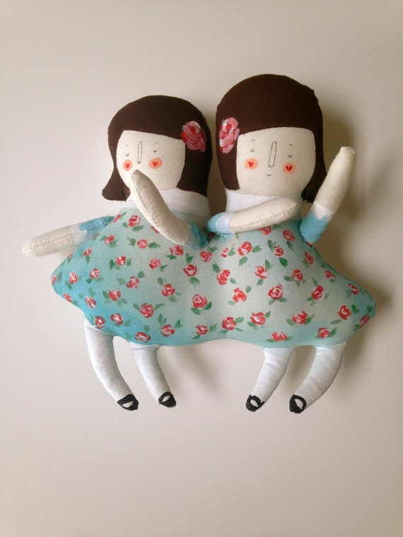 Vintage Circus Sideshow - Siamese Twins Art Plush Doll - Handmade and Painted OOAK- Made to Order - Violet and Daisy