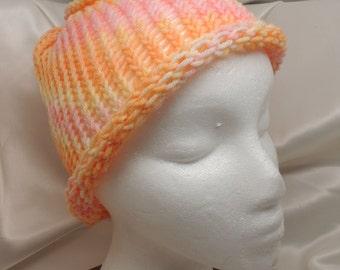 Hand Painted Pastel Loom Knit Merino Hat