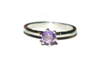 Brazilian Amethyst Ring, Light Purple Stone, Natural Amethyst, Size 7