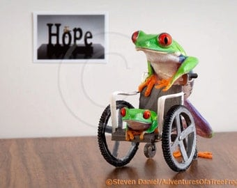 Frog in a Wheelchair, Medical Humor, Medical Art, Wellness Art