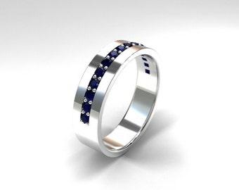 blue sapphire wedding band palladium ring wide ring mens sapphire ring mens - Mens Sapphire Wedding Rings