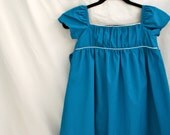 Girls Organic Cotton Easter Dress, Teal Blue with White Piping, Empire Waist , Long SIZE M/L