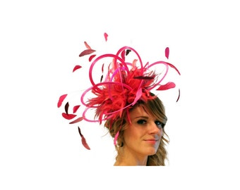 Hot Pink and Burgundy wine  Feather Fascinator Hat - wedding, ladies day, Mother of the Bride - choose any colour feathers & satin
