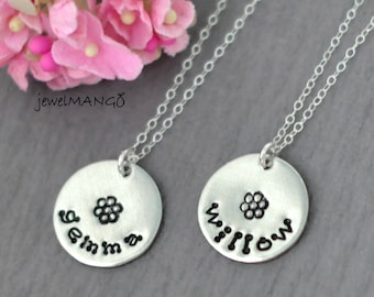 flower girl necklace, Hand Stamped Nameplate Necklace, keepsake necklace, flower girls gifts, Name Tag Necklace, coin necklace,