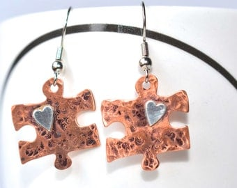 Copper or Brass Hammered Puzzle Piece Earrings with a Soldered Sterling Silver Heart Autism/Aspergers Awareness