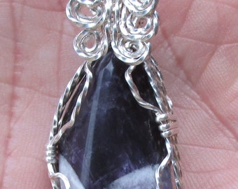 Amethyst  pendent wire wrapped in silverfilled wire.