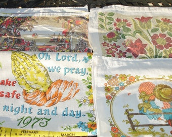 Vintage Kitchen  Linen Calendar Lot of Four 1973, 1974, 1975 and 1986