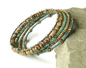 Stacked beaded bracelets - Brown & turquoise Picasso beads wrap 5x