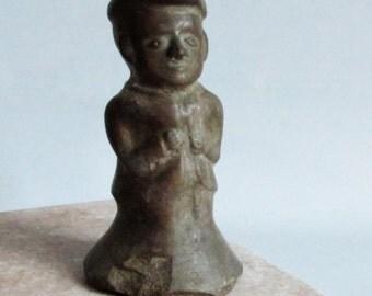 Vintage Studio Pottery. Golfer. Candleholder. Brown. Face Pottery. Figural.