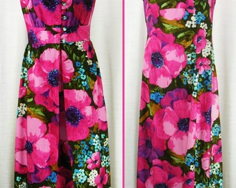 Vintage 60's – 70's  MOD Hippie Floral MAXI Dress with Long Coat ~Marjorie Hamilton-Vancouver~