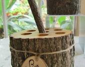 Bridal Rustic Barn Wedding Guest Book log  Pen Pencil Fallen Tree Holder