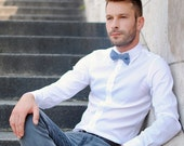 RESERVED LISTING / jean emmanuel / Blue bow tie for men or women / small polka dot / wedding bow tie