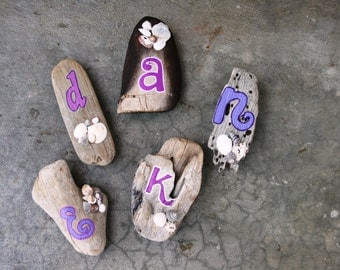 Custom Name Initial Driftwood Magnet with shells