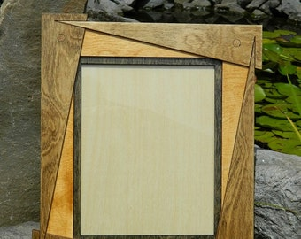 Tilted Triangle Hardwood Picture Frame - 8x10 - Brown, Beige - Art, Photography, Woodworking