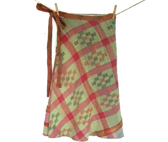 reversible kantha quilt wrap skirt