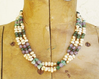 Vintage Les Bernard Necklace Simulated Potato Pearls Amethyst and Jade Glass Beads Sterling Clasp Three Strands
