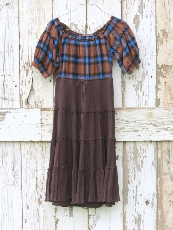 Reserved for Mel- Romantic Rustic Brown Boho Babydoll Dress/ upcycled brown and blue plaid dress/ eco friendly party dress