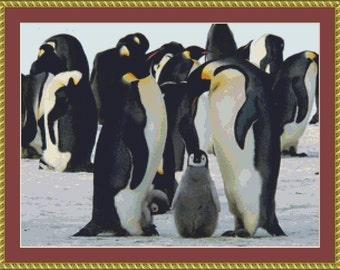 Emperor Penguins Cross Stitch Pattern