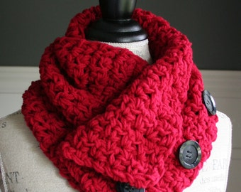 Red Cowl Scarf with 3 black buttons, crocheted