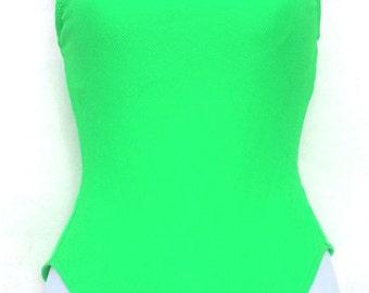 LANDSEND amazing Vivid Green 1-piece Bathing Suit US sz 5/6