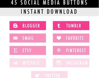 45 Rectangular Blog Social Media Buttons for Blog/Website/more - Instant Download - Pink Pack