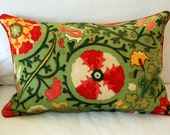 Brunschwig & Fils Dzhambul Pillow Cover piped in red. Multicolored fabric in rich gold, green and red cleverly resembles crewelwork.