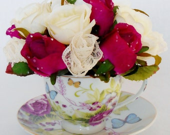 Teacup Silk Flower Arrangement, Dark Fuchsia & Cream Rosebuds with Lace Rosettes, Vintage Teacup and Saucer, Artificial flower Arrangement,