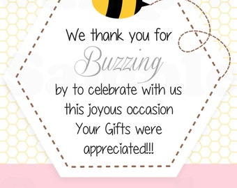 What will it Bee? Sweet Birds and the Bees Theme Baby shower Thank you buzzing by card - Printable File.