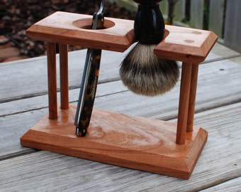 Shaving Stand for StraightRazor and Badger Brush, Solid Cherry Wood