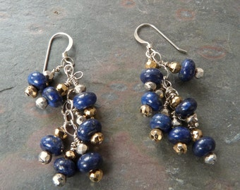 Deep Blue Lapis Lazuli Cluster Earrings with Silver &Gold Pyrite, Sterling Silver, Handmade