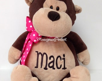 Personalized, Monogrammed Stuffed Monkey Soft Toy, Plush