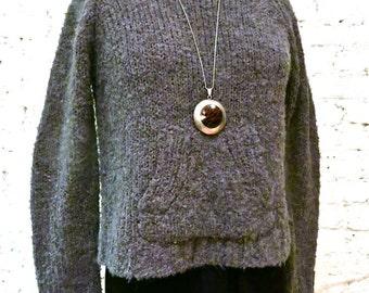 80s Joan Vass Alpaca and Wool Cropped Sweater