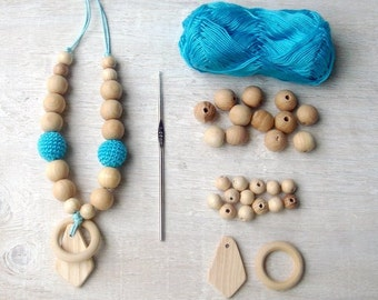 Teething necklace ring Rattle wooden toy Baby teether Baby wooden ring Blue Baby necklace Breastfeeding Babywearing necklace Wooden teether
