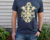 Bee Mandala Screen Print in Bright Honey Yellow on a Heathered Charcoal Colored SoftStyle Tshirt