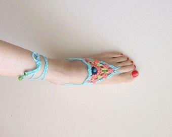 Crochet pattern Barefoot sandals, summer wedding shoes, granny stitch thongs, boho, beach , yoga,  Instant Download pattern
