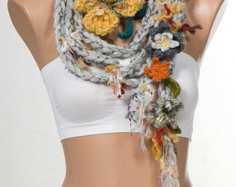 NEW Bohemian crochet scarf Lariat scarf. Extra long hippie scarf. Crochet belt. Gray and Mustard and colorful.