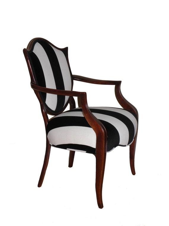 shield back black and white striped upholstered arm chair. Black Bedroom Furniture Sets. Home Design Ideas