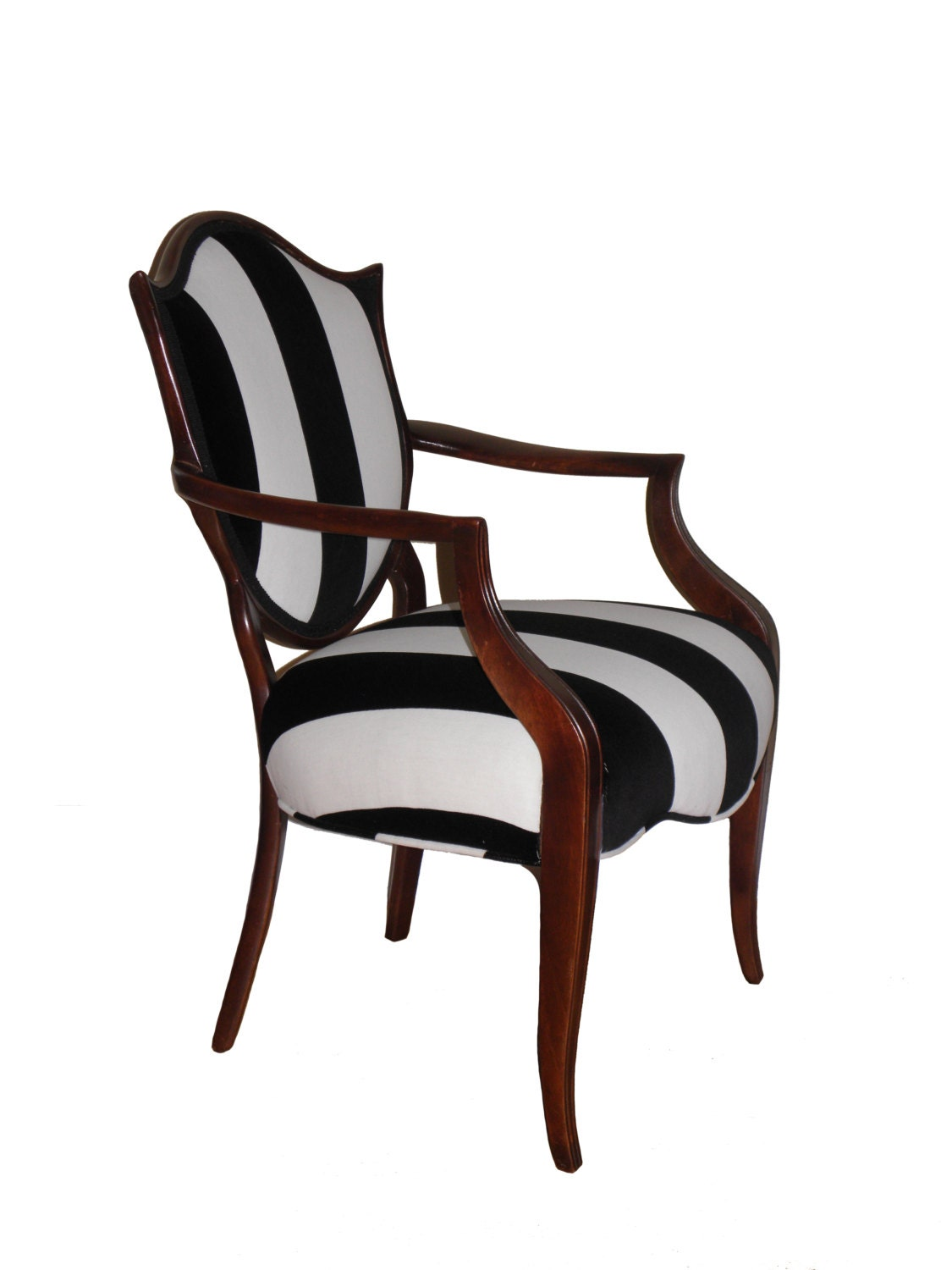 Shield back black and white striped upholstered arm chair for White chair